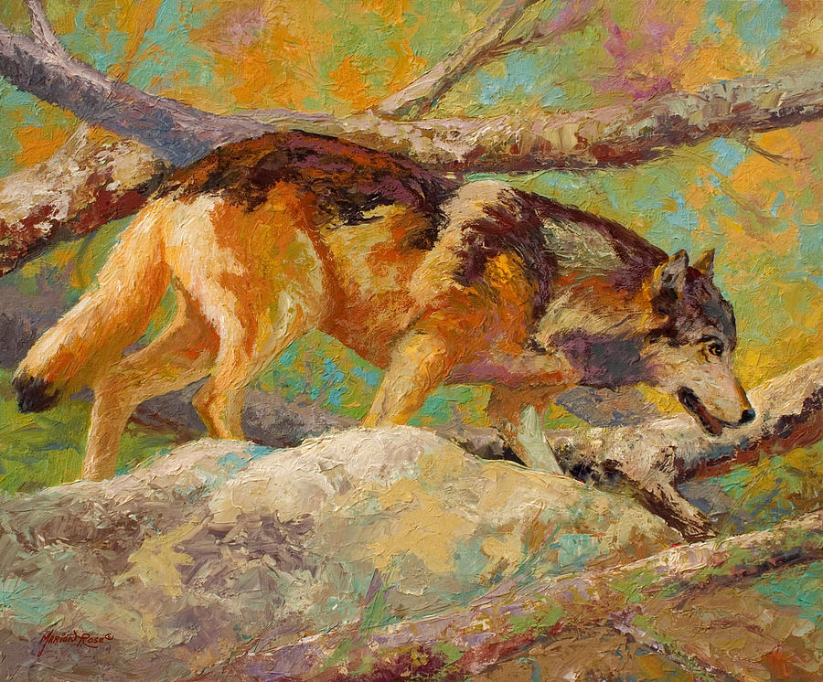 Wolf Painting - Prowler - Grey Wolf by Marion Rose