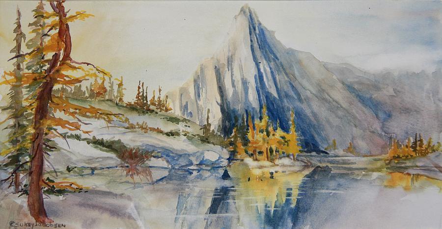 Mountains Painting - Prusik Peak Fall Morning by Sukey Watson