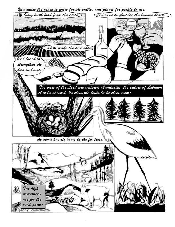 Psalms Digital Art - Psalm 104 Comic Page 5 by Anne Cameron Cutri