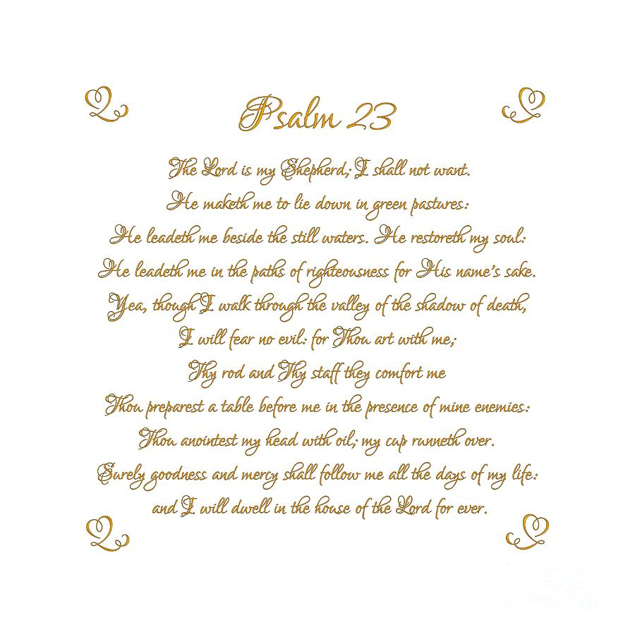 Psalm 23 The Lord Is My Shepherd Gold Script On White Digital Art By Rose Santuci Sofranko
