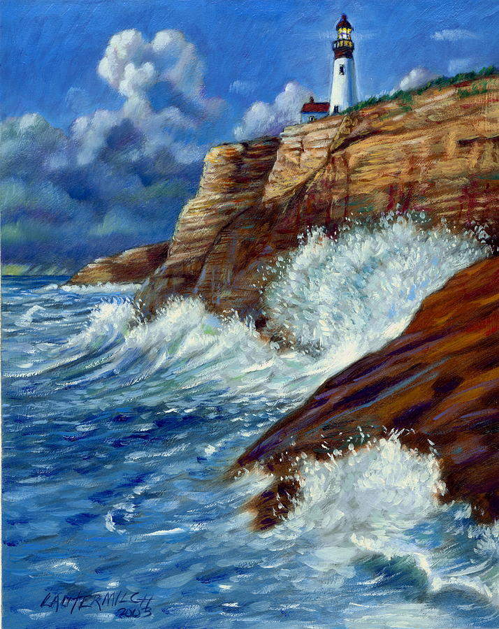Lighthouse Painting - Psalm Forty Three-Three by John Lautermilch