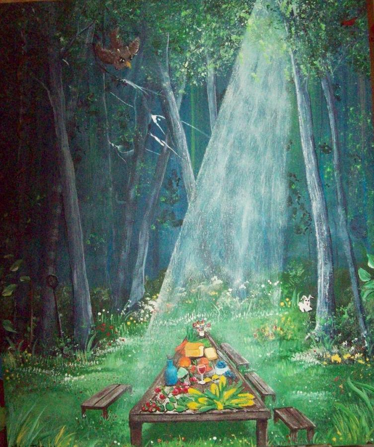 Primitive Painting - Psalms Twenty Three Five by Susan Michutka