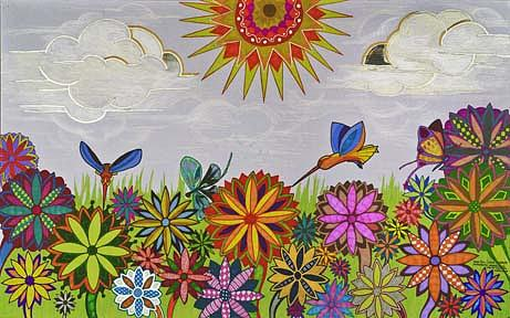 Illustrative Drawing - Psychadelic Daisies by Mark Cohen