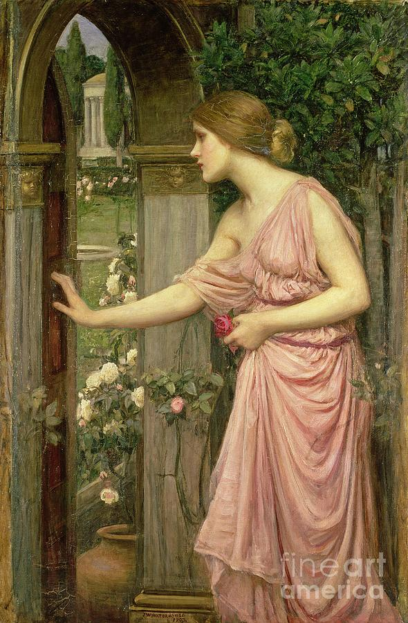 John William Waterhouse Painting - Psyche Entering Cupids Garden by John William Waterhouse