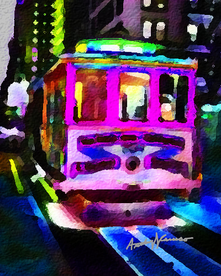 San Francisco Painting - Psychedelic Cable Car by Anthony Caruso