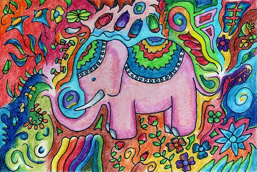 Psychedelic Elephant Drawing By Holi