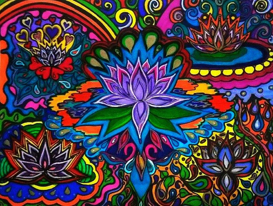 psychedelic lotus flower drawing by rita entwistle