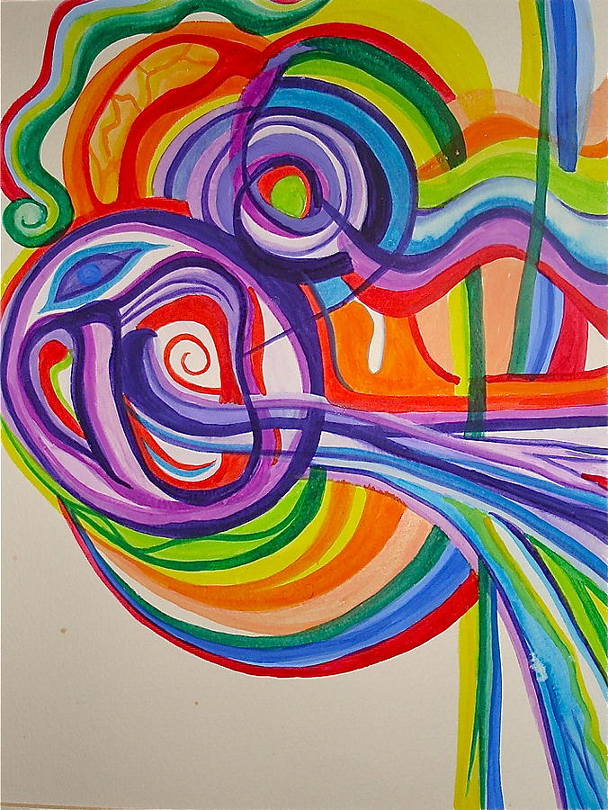 Psychedelic Painting - Psychedelic Mask by Erika Swartzkopf