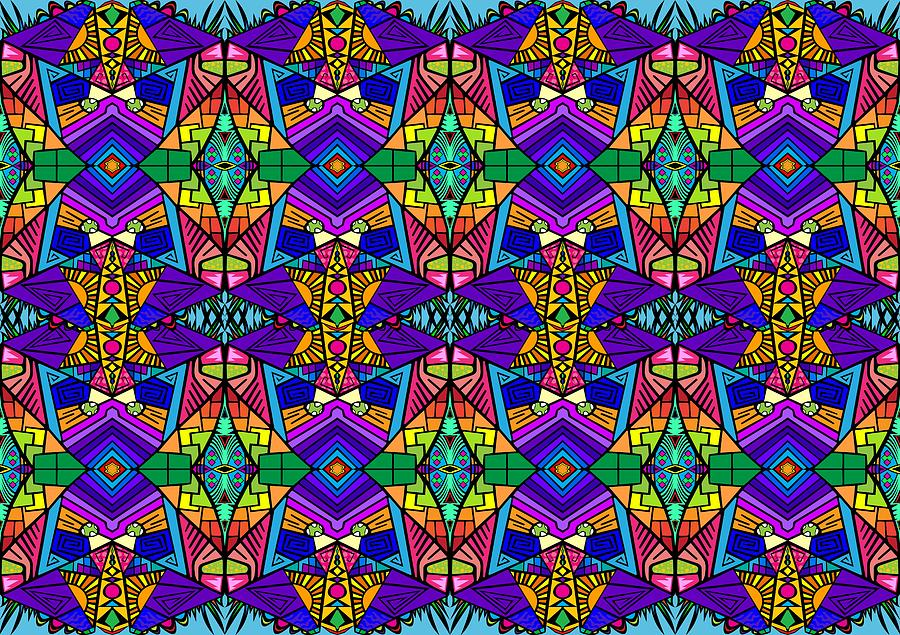 Psychedelic Digital Art - Psychedelic Pattern Blue by Shawn Ballard