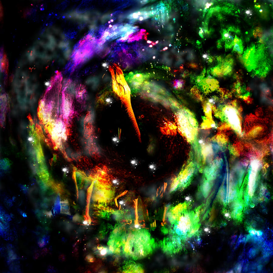 Psychedelic Rainbow Elephant Constellations Galaxy Nebula Universe Rainbow Colors Colourful Digital Art - Psychedelic Rainbow Elephant Constellations by Abram Lopez