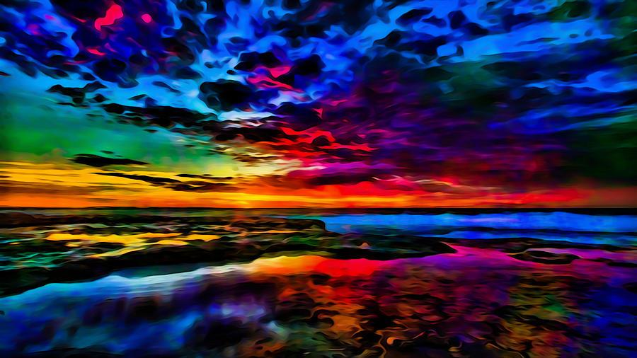Psychedelic Sea Dusk Photograph By Ron Fleishman