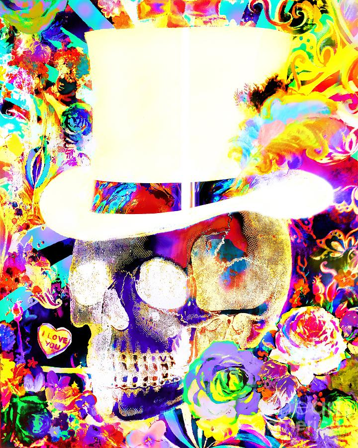 Psychedelic Painting - Psychedelic Top Hat Skull by E Bradshaw