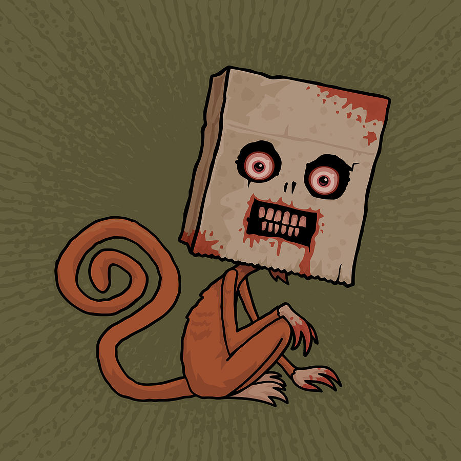Monkey Digital Art - Psycho Sack Monkey by John Schwegel