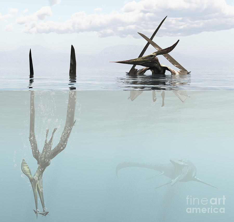 Pteranodon Pterosaur Diving Underwater Digital Art