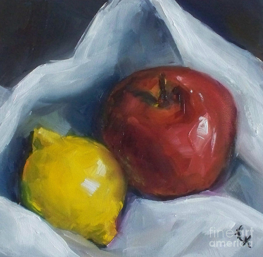Apple Painting - Pucker Up by Kristine Kainer