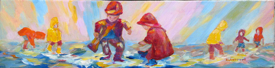 Kids Painting - Puddle Jumpers II by Naomi Gerrard