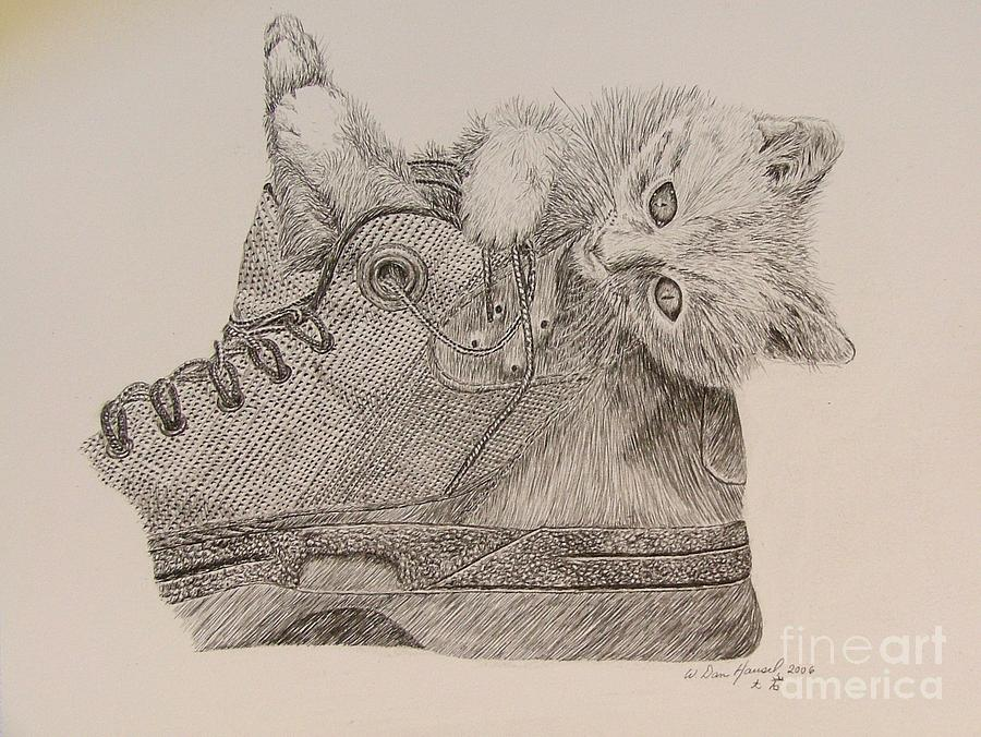 Kitty Drawing - Puddy Tat In Boot by Dan Hausel