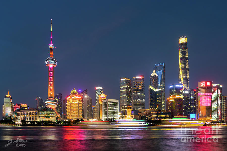 Pudong At Night Photograph by Jeffrey Stone