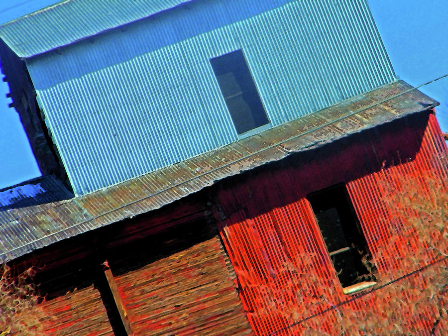 Abstract Digital Art - Pueblo Downtown--sweenys Feed Mill by Lenore Senior