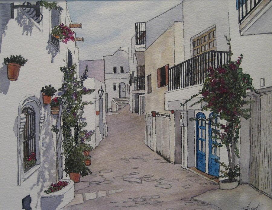 Spain Painting - Pueblo by Victoria Heryet