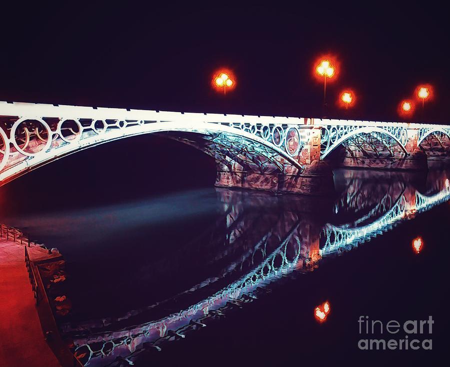 Puente de Triana Mixed Media by HELGE Art Gallery