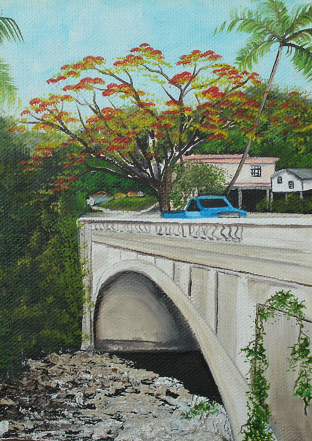Puente Painting - Puente En Adjuntas by Gloria E Barreto-Rodriguez