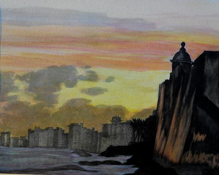 Landscapes Painting - Puerto Rican Sunset by Liz Borkhuis