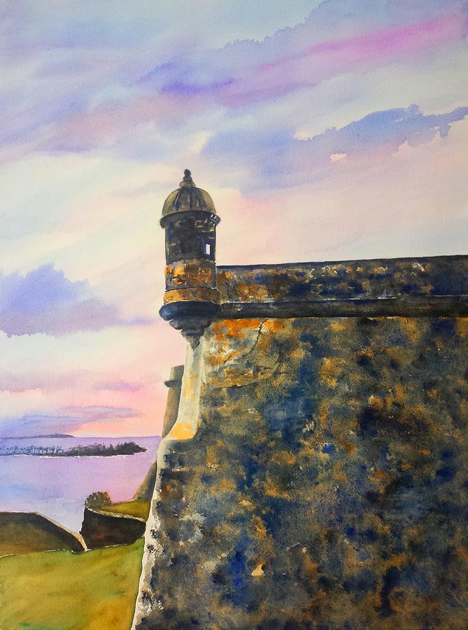 Puerto Rico Painting - Puerto Rico Castillo San Felipe del Morro by Carlin Blahnik CarlinArtWatercolor