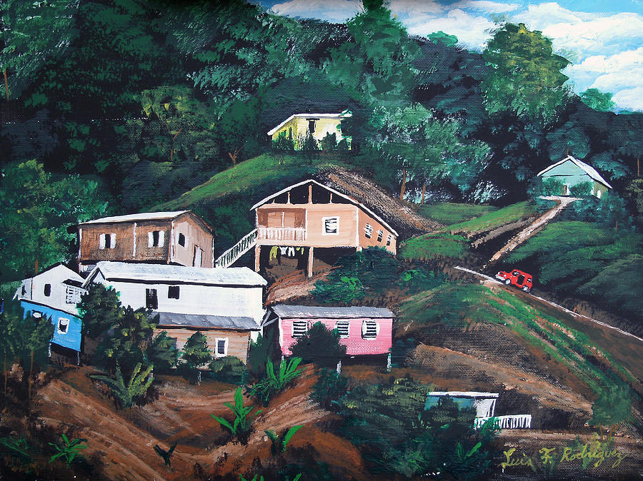 Puerto Rico Painting - Puerto Rico Mountain View by Luis F Rodriguez