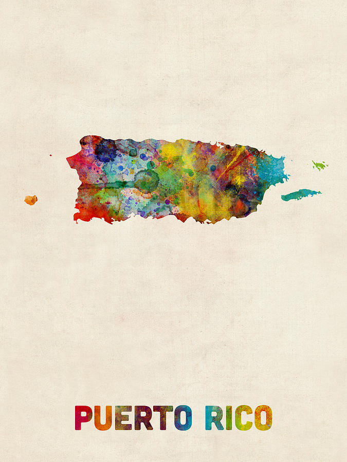 United States Map Digital Art Puerto Rico Watercolor Map By Michael Tompsett