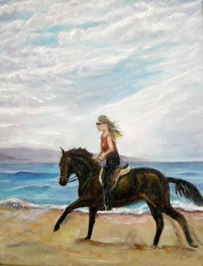 Riding Painting - Puerto Vallarta Beach Ride by Olga Kaczmar