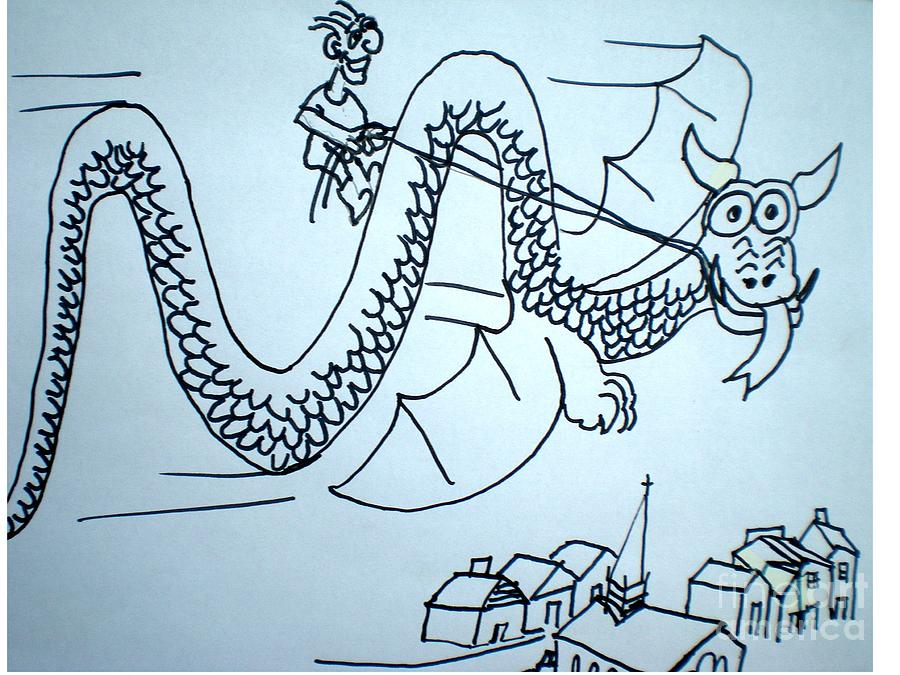 Boy Drawing - Puff The Magic Dragon by Hal Newhouser