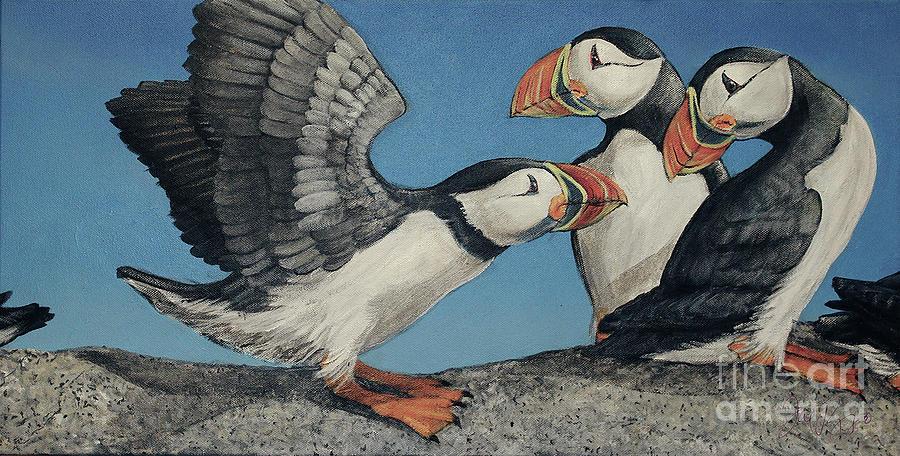 Puffin Painting - Puffin Palooza by Joseph Rizzo