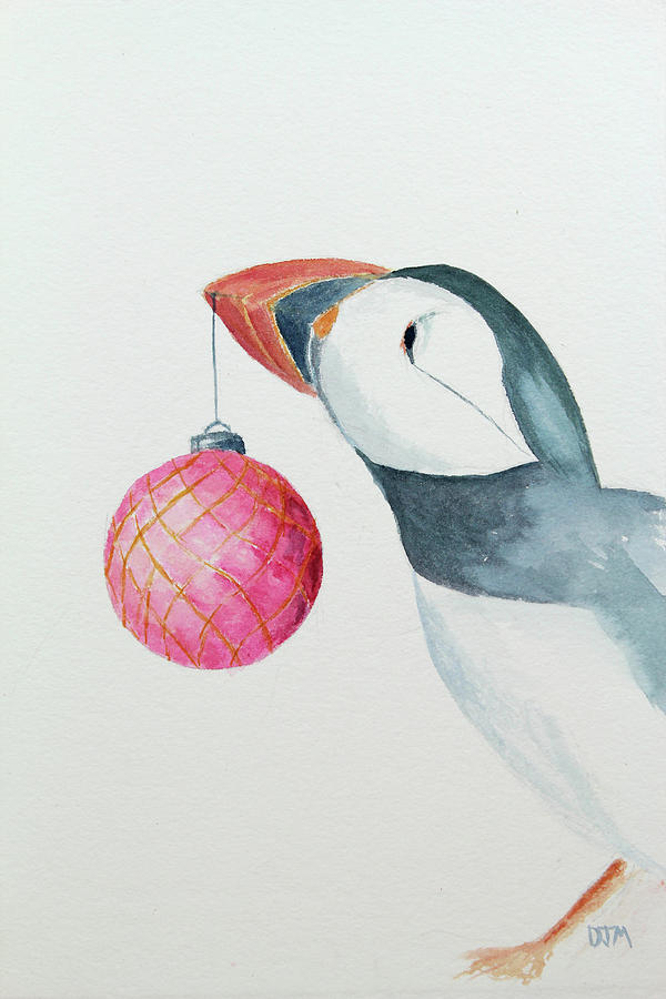 Watercolor Painting - Puffins First Christmas by Doug Moore