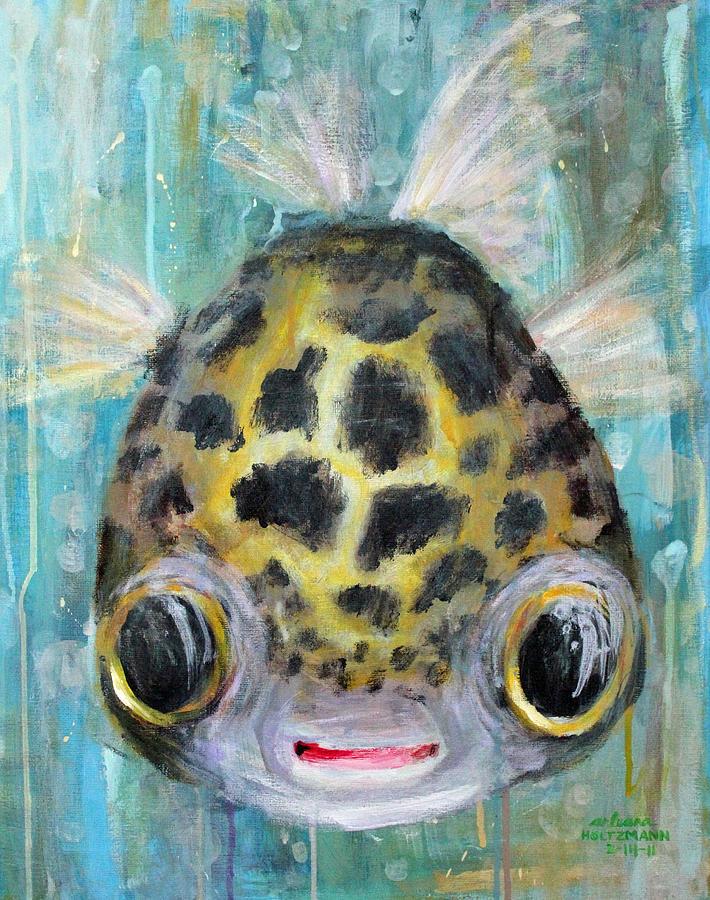 Puffer Fish Painting - Puffy Underwater by Arleana Holtzmann