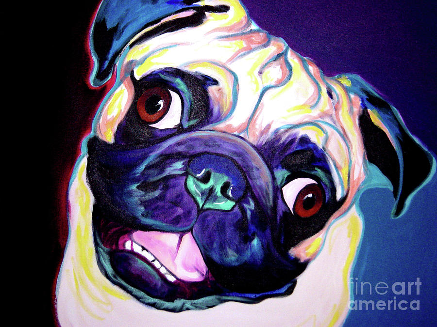 Pug Painting - Pug - Rider by Alicia VanNoy Call