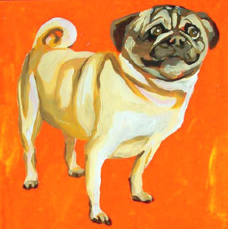 Dog Painting - Pug by Alli Berglund