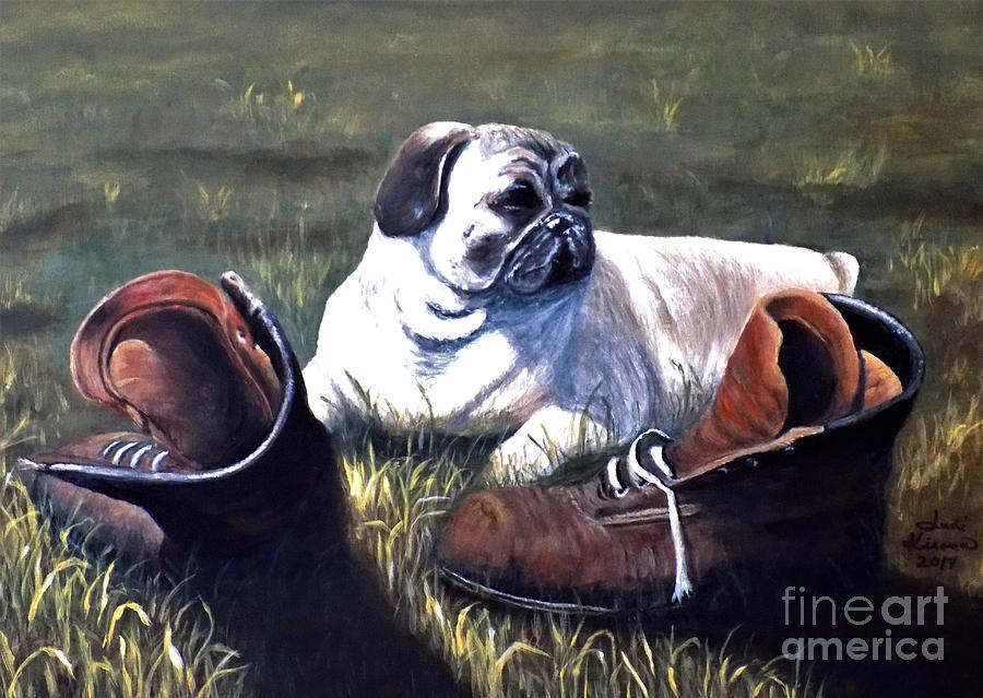 Pug and Boots by Judy Kirouac