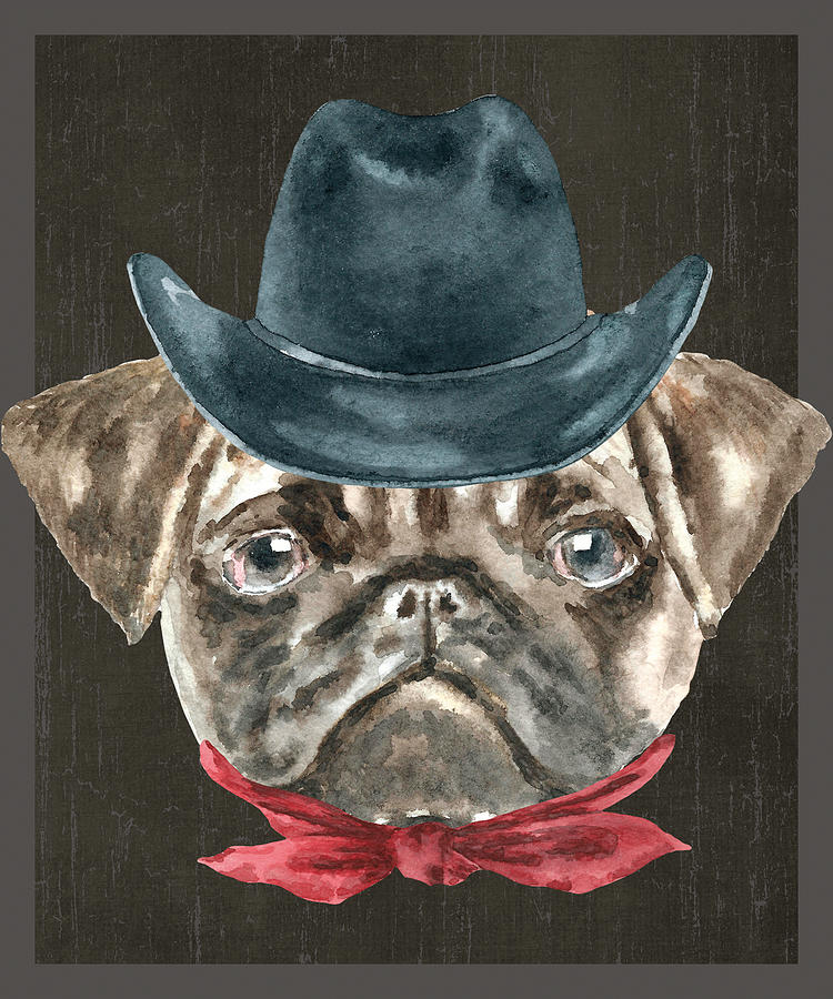 47181dfe91e Dog Digital Art - Pug Cowboy Hat Red Collar Dogs In Clothes by Trisha Vroom