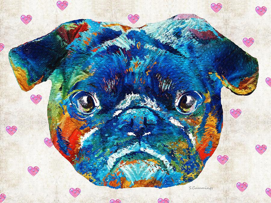 Pug Painting - Pug Love Dog Art By Sharon Cummings by Sharon Cummings