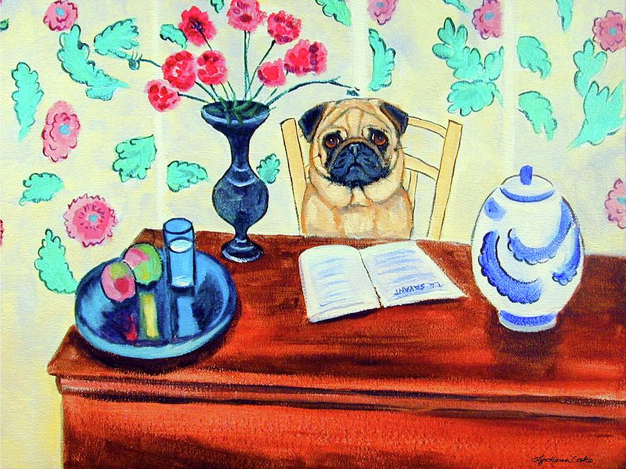 Pug Painting - Pug Scholar by Lyn Cook