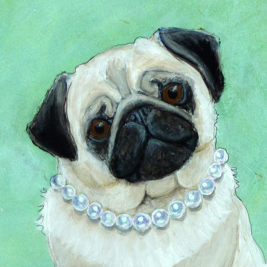 Pug with Pearls Closeup by Ande Hall