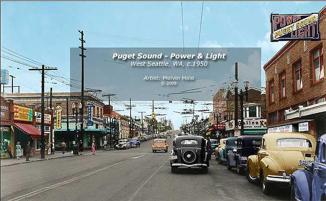 Puget Sound Power And Light Seattle Circa 1950 Painting by Melvin Hale