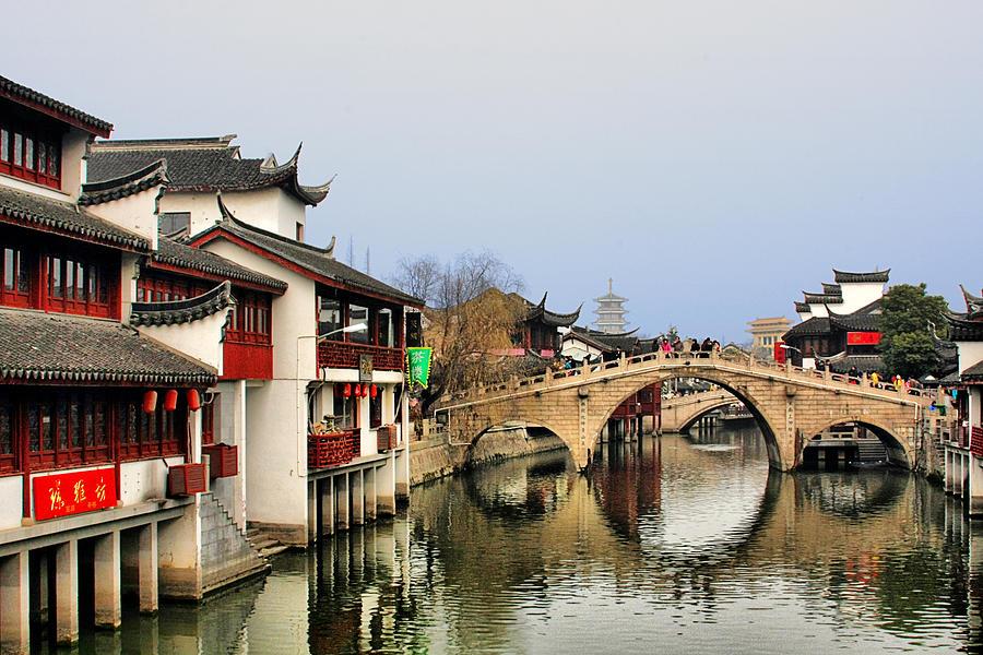 Puhuitang River Bridge Photograph - Puhuitang River Bridge Qibao - Shanghai China by Christine Till