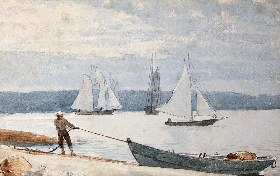 Man Painting - Pulling the Dory by Winslow Homer