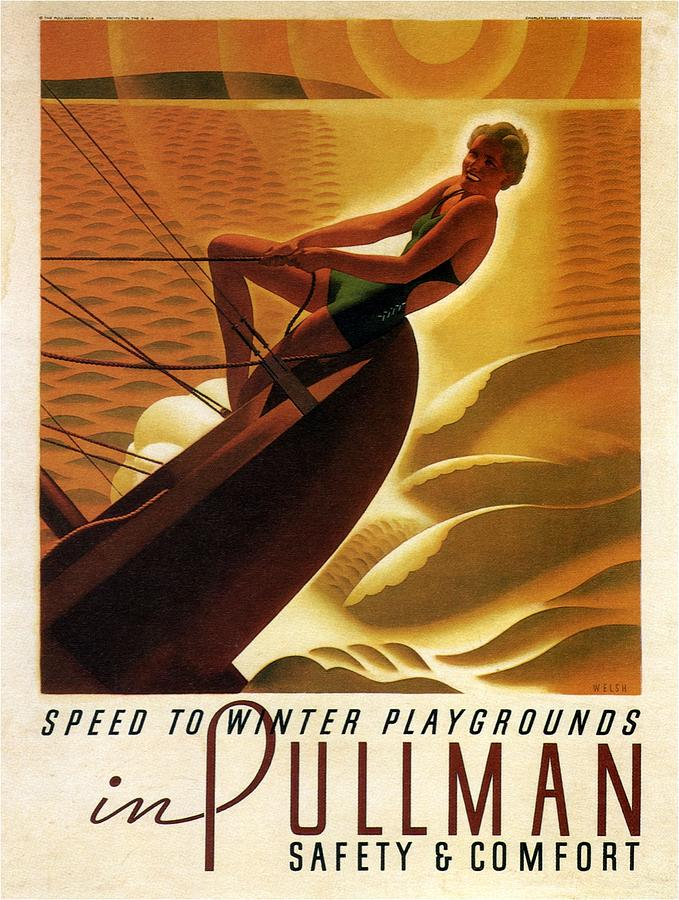 Pullman Speed To Winter Playgrounds - Retro Travel Poster - Vintage Poster Mixed Media