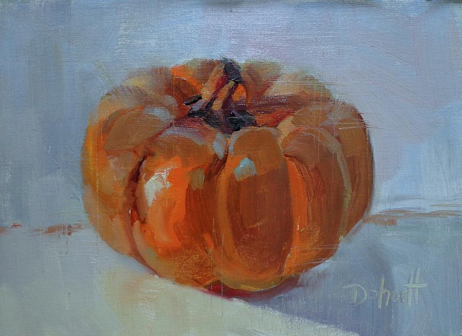 Pumpkin Painting - Pumpkin Alone  by Donna Shortt