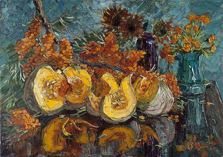 Pumpkin And Sea Buckthorn  Painting by Sergey Sovkov
