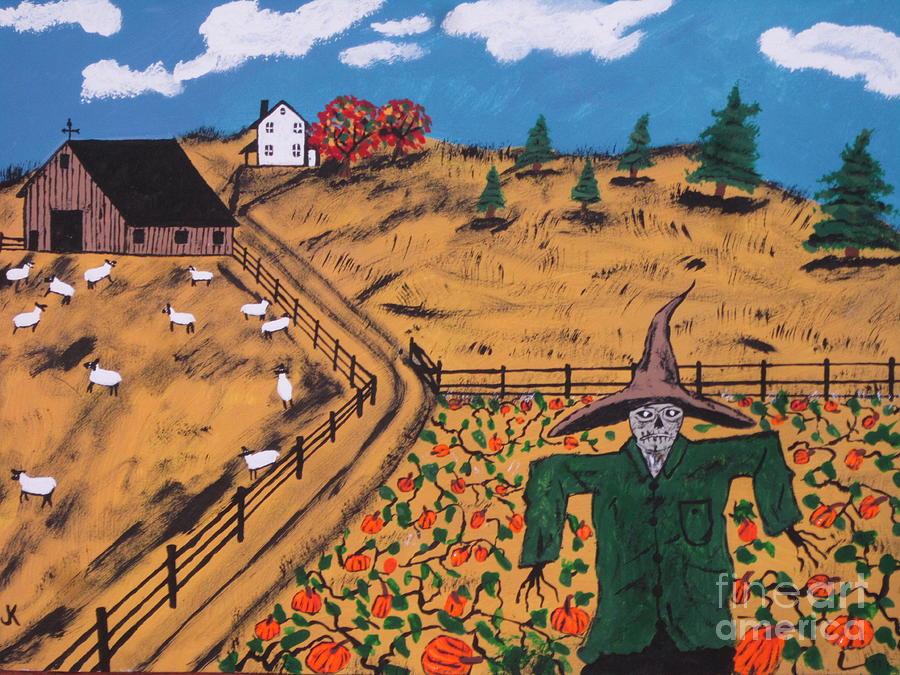 Autumn Painting - Pumpkin Patch Scarecrow by Jeffrey Koss