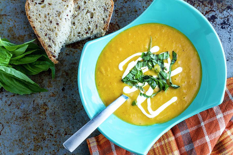 Pumpkin Squash Soup In Blue Photograph